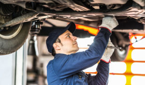 catalytic converter being replaced by mechanic