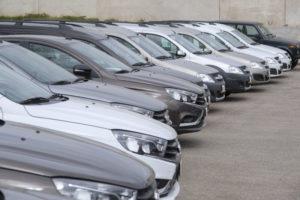 fleet of cars in car park